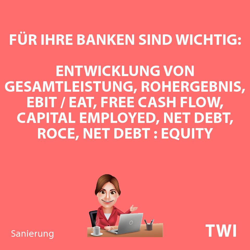 """Textbild mit folgender Aussage als Muster-Anforderung Ihrer Bank bei Finanzkennzahlen: """"Für Ihre Banken sind wichtig: Entwicklung von Gesamtleistung, Rohergebnis, EBIT / EAT, Free Cash Flow, Capital Employed, Net Debt, ROCE, Net Debt : Equity"""""""