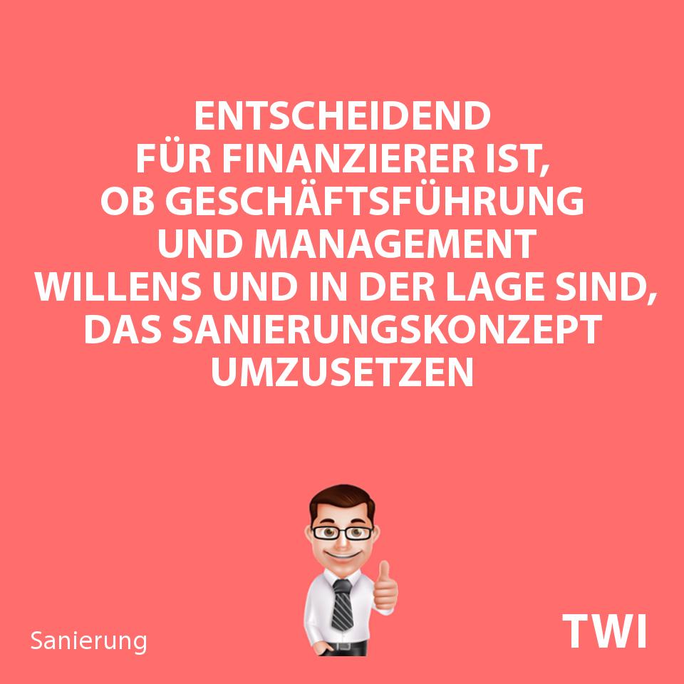 Textbild mit Aussage zur Sanierungsfähigkeit. Entscheidend für Finanzierer ist, ob gesetzliche Vertreter und Management willens und in der Lage sind, das Sanierungskonzept umzusetzen.