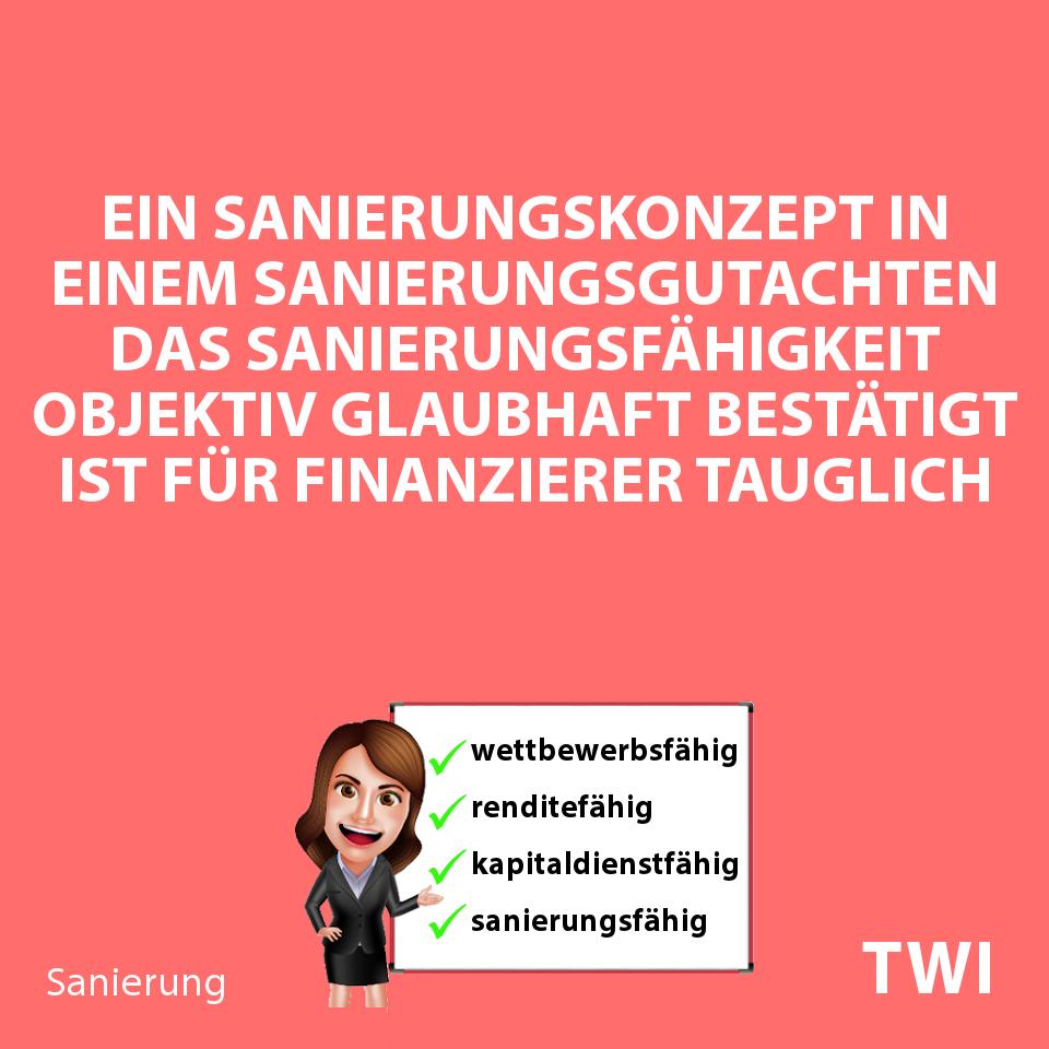 """Textbild mit folgender Aussage für die Sichtweise einer Bank:""""Das Sanierungskonzept eines Sanierungsgutachtens ist für Finanzierer tauglich, wenn es Sanierungsfähigkeit objektiv bestätigt""""."""