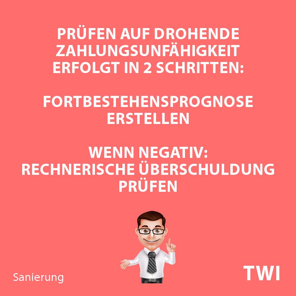 Textbild. Prüfen auf drohende Zahlungsunfähigkeit erfolgt in zwei Schritten: 1. Fortbestehensprognose erstellen, 2. wenn negativ: rechnerische Überschuldung prüfen.