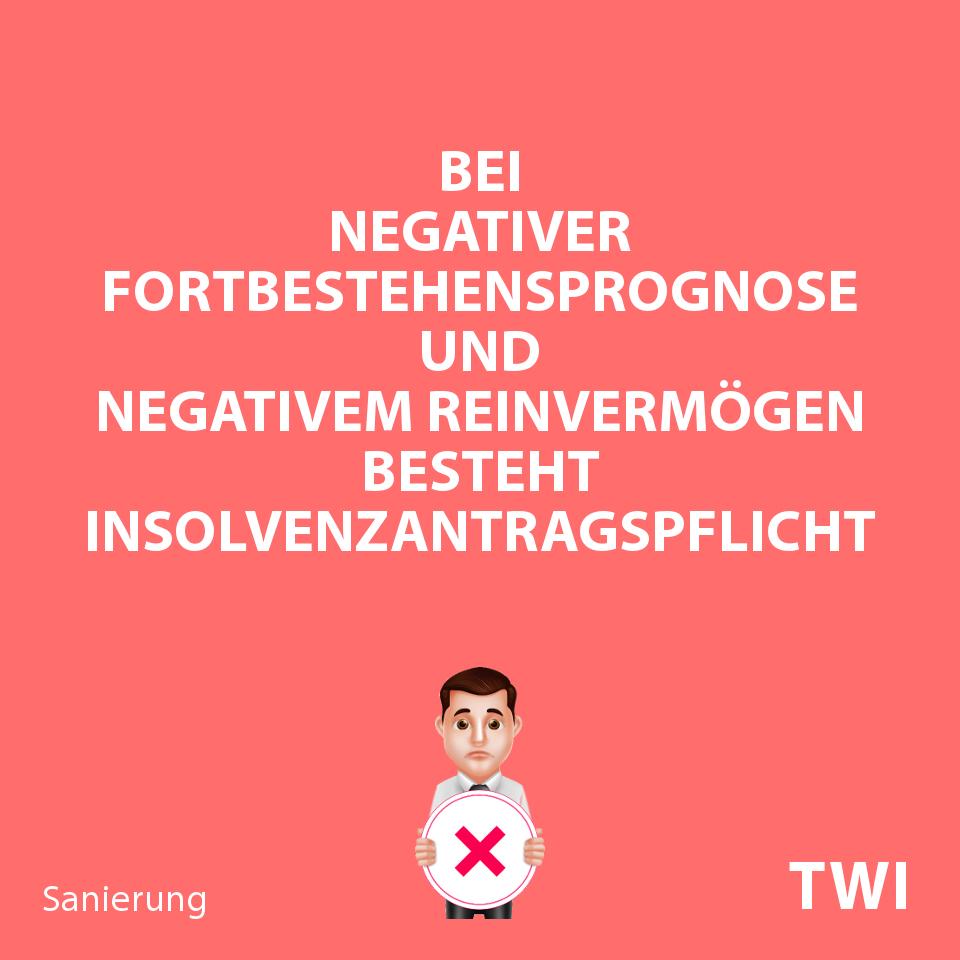 Textbild zur Überschuldung von Unternehmen. Bei negativer Fortbestehensprognose und negativem Reinvermögen besteht Insolvenzantragspflicht.