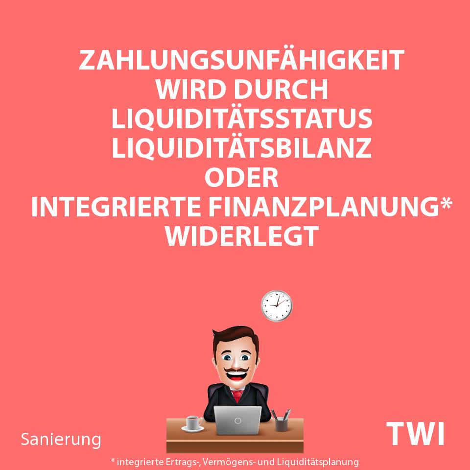 Textbild. Zahlungsunfähigkeit wird durch Liquiditätsstatus, Liquiditätsbilanz oder integrierte Finanzplanung widerlegt.