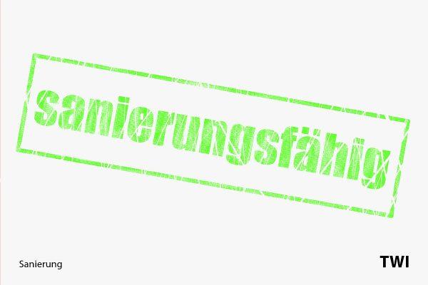 Grüner Stempel, umrandet, mit Text. sanierungsfähig. Ausdruck der Sanierungsfähigkeit eines Unternehmens als mögliches Ergebnis eines Sanierungsgutachtens.