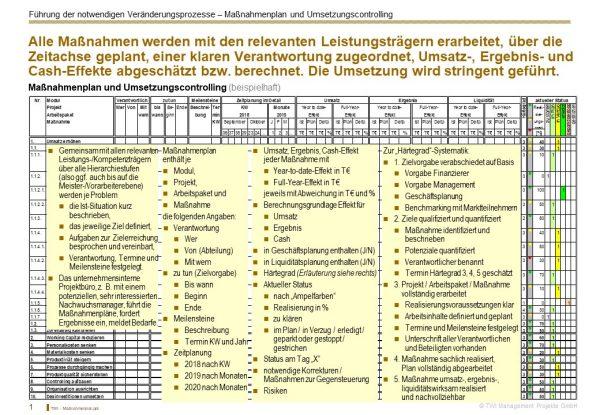 Muster für einen Maßnahmenplan bei einem Sanierungskonzept nach IDW S6 von TWI.